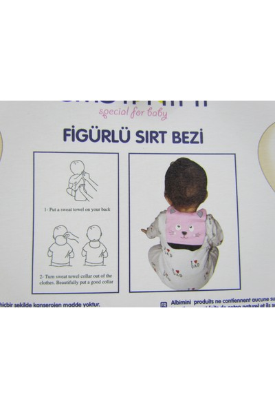 Runbaby Albimini Dinazor Figürlü %100 Pamuk Bebek Sırt Bezi (Lacivert)