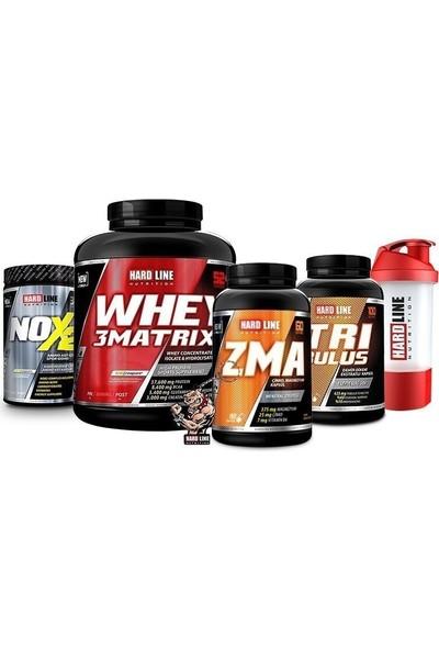 Hardline Nutrition Hardline Whey 3 Matrix 2300 gr + Nox 2 + Tribulus + Zma Kombinasyonu