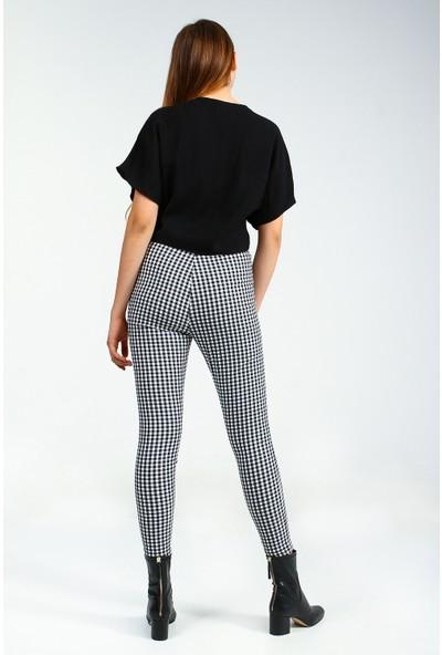 Collezione Siyah Yüksek Bel Kareli Skinny Kadın Pantolon