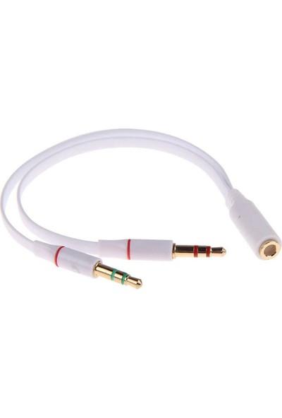 Wozlo Kulaklık Mikrofon Ayırıcı Y Splitter Kablo 2 x 3.5 mm Stereo Kablo