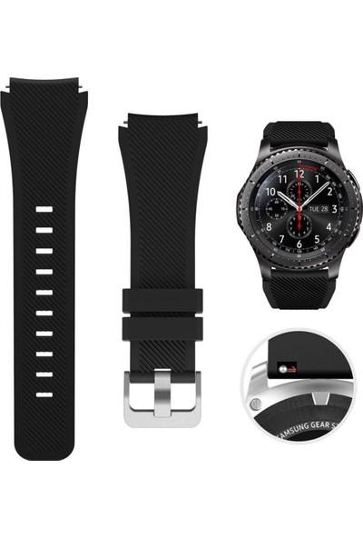 CoverZone Samsung Galaxy Watch 46MM Classic Çapraz Frontier Kayış Kordon Siyah