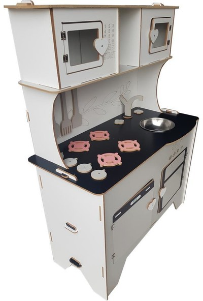 Woody Life 104 cm Çocuk Odası Ahşap Mutfak Montessori Oyuncak Dolabı Gri Zeytindalı Oyunevi Kutu