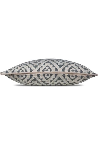 Etnik Ikat Boho Kilim Desen Füme Gri, Natürel Biyeli Kırlent Yastık Kılıfı 45X 45 cm