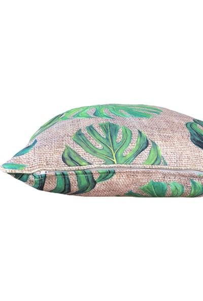 Çuval Zemin Yeşil Devetabanı Desenli Çuval Biyeli Kırlent Yastık Kılıfı