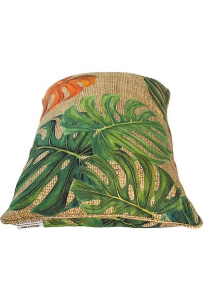 Çuval Zemin Turuncu Yeşil Devetabanı Desenli Çuval Biyeli Kırlent Yastık Kılıfı
