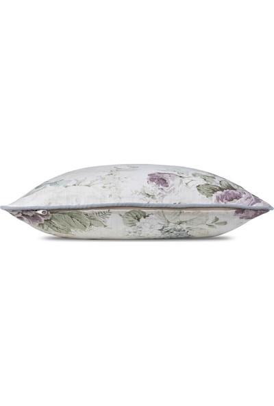 Gastrot Gül Desenli Pastel Pembe Gri Biyeli Kırlent Yastık Kılıfı 45X45 cm