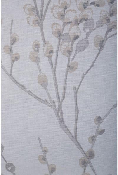 Gastrot Lara Sakura Desenli Kırık Beyaz Bej Kırlent Yastık Kılıfı