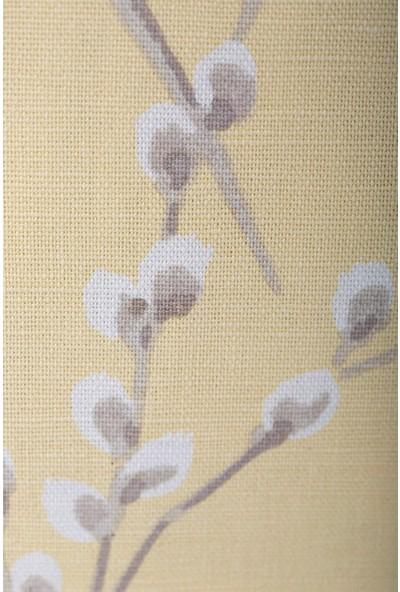 Gastrot Lara Sakura Desenli Safran Sarı Beyaz Kırlent Yastık Kılıfı