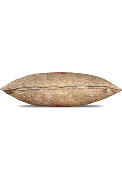 Gastrot Çuval Zemin Pano Kırmızı Atkılı Geyik Desenli Kırlent Yastık Kılıfı 45X45 cm