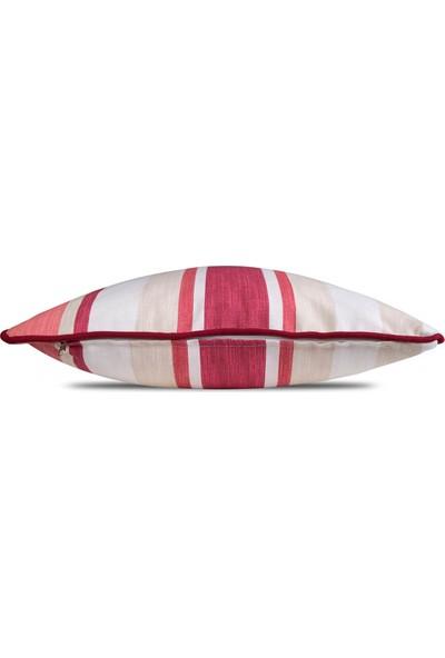 Gastrot Lara Stripes Bej Beyaz Kırmızı Çizgili Kırlent Yastık Kılıfı