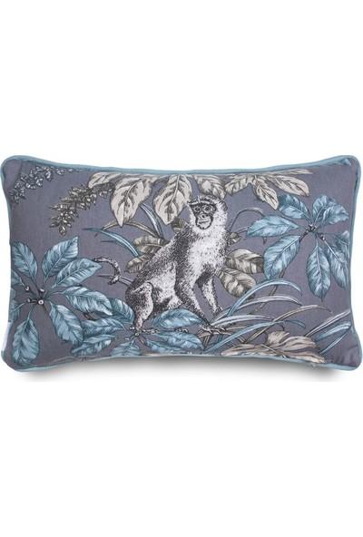 Gastrot Tropik Maymun Desenli Gri Mavi Renk Mavi Biyeli Kırlent Yastık Kılıfı 30X50 cm