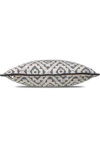 Gastrot Etnik Ikat Boho Kilim Desen Füme Gri, Füme Biyeli Kırlent Yastık Kılıfı 45X45 cm