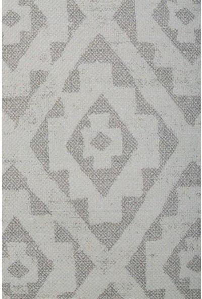 Gastrot Etnik Ikat Boho Kilim Desen Bej Gri, Natürel Biyeli Kırlent Yastık Kılıfı 45X45 cm