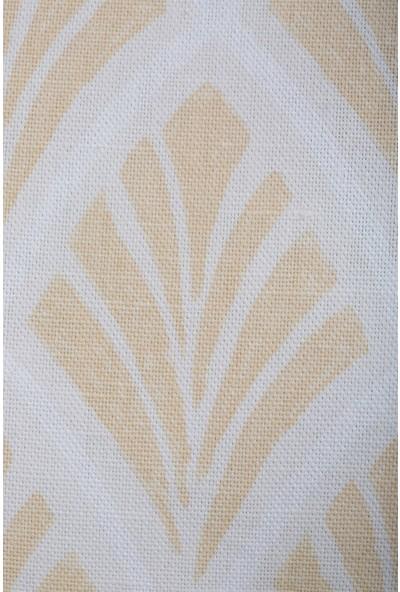Gastrot Lara Istiridye Desenli Safran Sarı Beyaz Kırlent Yastık Kılıfı 45X45 cm