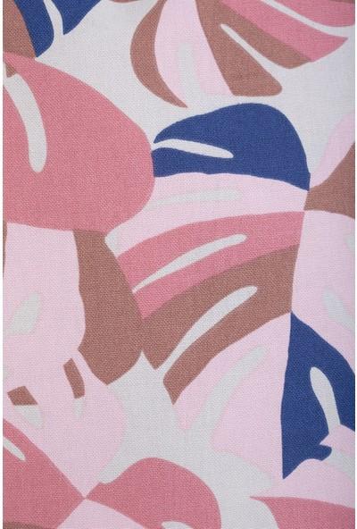 Gastrot Tropik Devetabanı Desenli Pembe Tarçın, Lacivert Biyeli Kırlent Yastık Kılıfı 45X45 cm