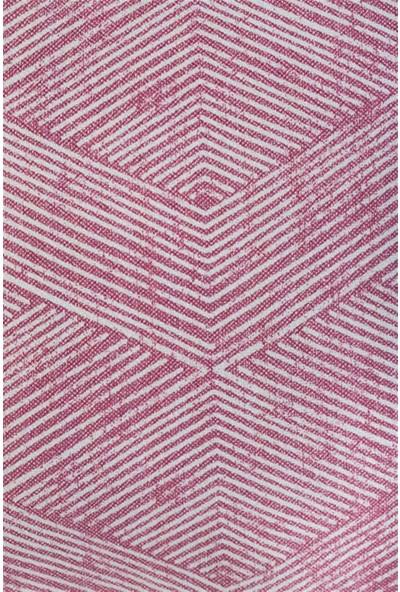 Gastrot Pembe Beyaz Geometrik Çizgili Mermer Desenli Pembe Biyeli Kırlent Yastık Kılıfı