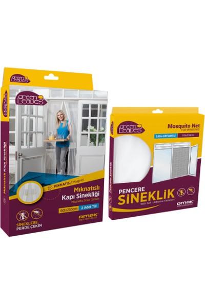 Omak Mıknatıslı Kapı Sinekliği 2X(60X210) cm + Pencere Sinekliği 130X150 cm