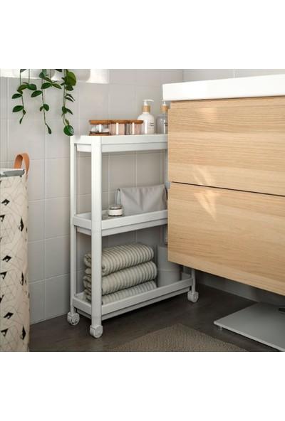 Masho Trend Beyaz Vesken Tekerlekli Raf Unitesi - 3 Katlı Vesken Raf - Banyo Rafı - Mutfak Rafı - 54 x 18 x 71