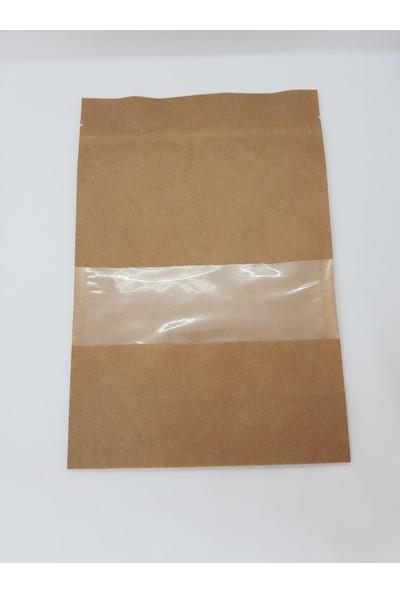 Doypack Doypack Ambalaj (100 Adet) Kraft Kilitli Poşet Pencereli Torba 20X30+5
