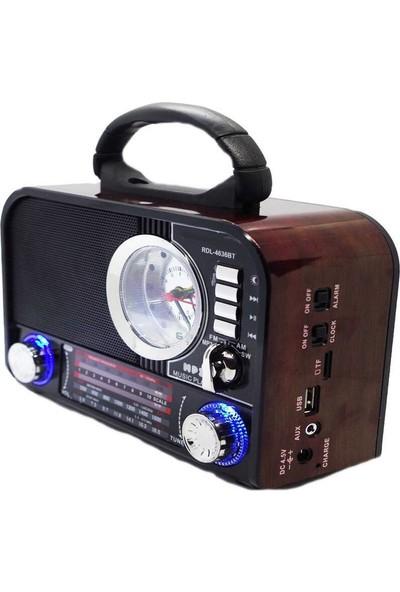 Mkey RDL-4636BT Nostaljik Bluetoothlu Alarm Saatli Müzik Kutusu Mp3 Çalar Fm Radyo