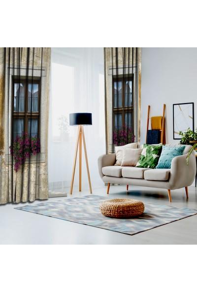 Henge Taş Ev Çiçekli Pencere Önü Desenli Fon Perde