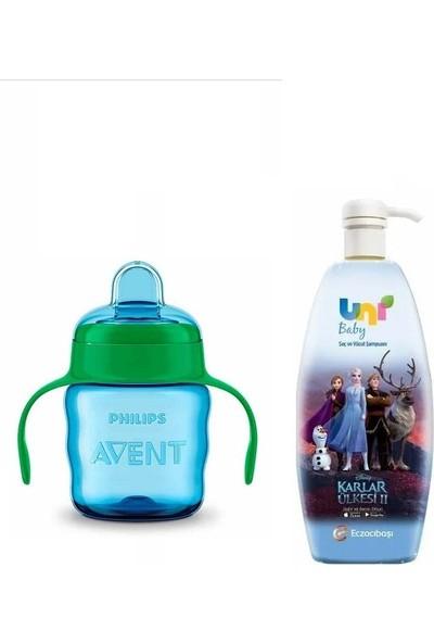 Uni Baby Frozen Şampuan 700 Ml+Avent Damlatmaz Alıştırma Bardağı Mavi