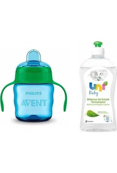 Uni Baby Biberon ve Emzik Temizleyici 500 Ml+Phılıps Avent Damlatmaz Alıştırma Bardağı Mavi