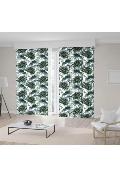 Henge Yeşil Tropikal Yaprak Desenli Beyaz Fon Perde