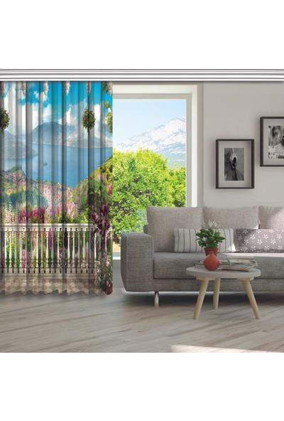 Henge Dağ ve Deniz Manzaralı Çiçekli Balkon Fon Perde