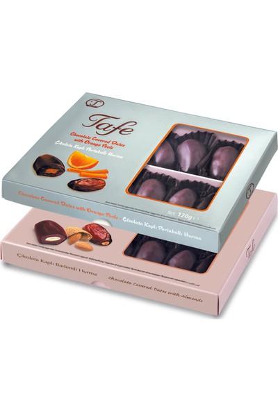Tafe Çikolata Kaplı Bademli ve Portakallı Hurma 120 gr x 2 Li Paket