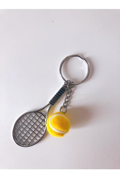 Kare Dekor Sarı Tenis Raketi ve Topu Anahtarlık