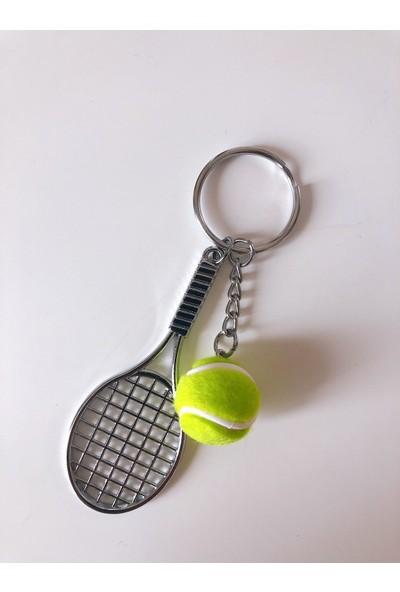 Kare Dekor Yeşil Tenis Raketi ve Topu Anahtarlık