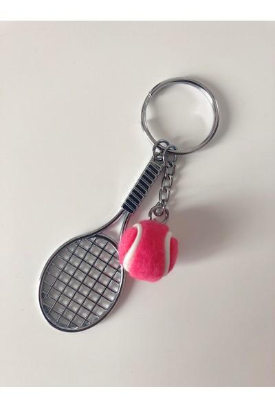 Kare Dekor Pembe Tenis Raketi ve Topu Anahtarlık