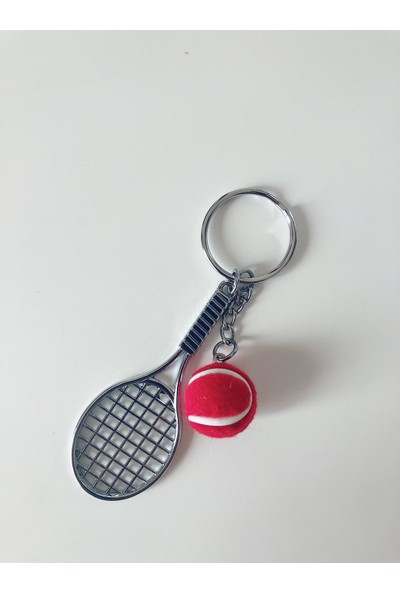 Kare Dekor Kırmızı Tenis Raketi ve Topu Anahtarlık
