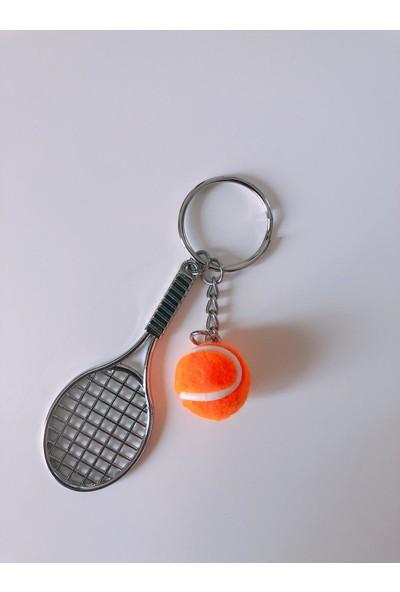 Kare Dekor Turuncu Tenis Raketi ve Topu Anahtarlık
