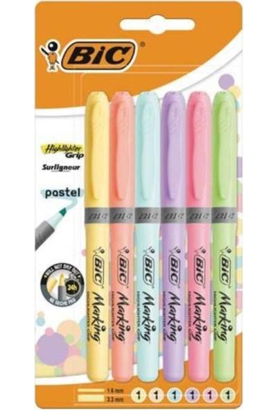 Big Kalem Tipi Fosforlu Kalem Pastel Renk 6'lı Surligneur