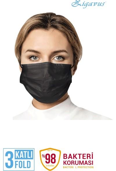 Zigavus 200 Adet Siyah Cerrahi Maske 3 Katlı Burun Telli