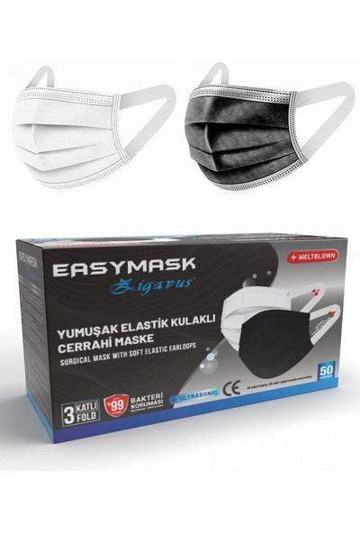 Zigavus Easymask Siyah & Beyaz Renk 250 Adet Yeni Nesil Yumuşak Elastik Kulaklıklı Cerrahi Maske