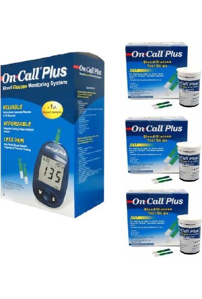 On Call Plus Oncallplus Kan Şekeri Ölçüm Cihazı + 3 KUTU(150 Ölçüm) Ölçüm Stribi