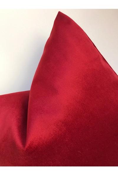 Kırlent Dünyası Kırmızı Özel Tasarım Adet 43X43 Döşemelik Kadife Kırlent Kılıfı