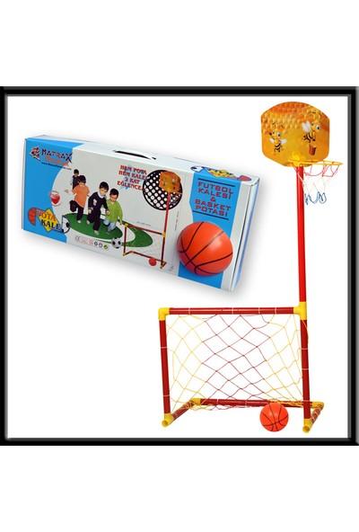 Akçiçek Oyuncak Portatif Kale-Basket Potası (2si 1 Arada)(13 cm Çapında Top Hediyeli)