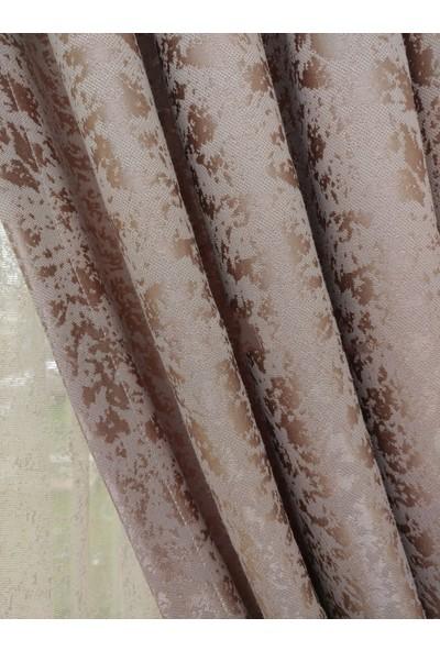 Laris Çift Kanat (1/3 Sık Pile) Kendinden Desenli Pudra Jakar Fon Perde