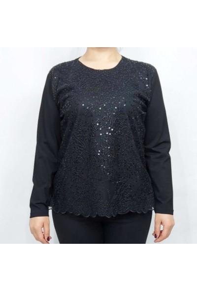 Fahrettin Moda Siyah 9208 Ön Pul Payet Detaylı Uzun Kollu Bluz