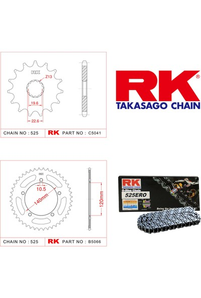 RK Suzuki Gsx-R 600 Rk Zincir Dişli Set 525 Ero O-Ring 16/43T(2006-2010)