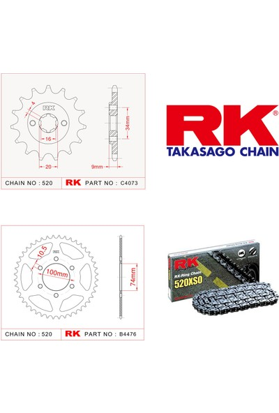 RK Hyosung Gv 250 Rk X-Ring Zincir Dişli Set 500 XSO-14/46T(2004-2015)