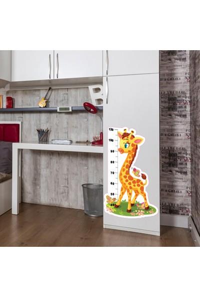 3Ekip Sevimli Zürafa Boy Cetveli Boy Ölçer Duvar Sticker