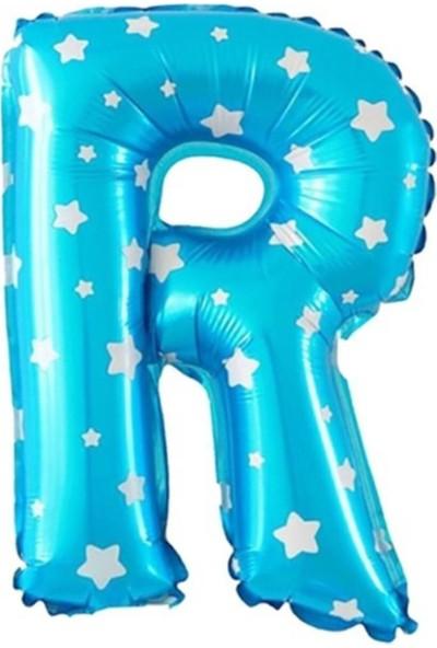 Asya Aksesuar R Harfi Mavi Renk 16 Inc 40 cm Balon Parti Malzemesi