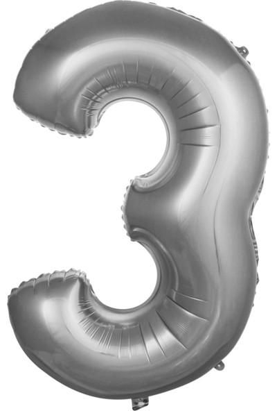 Asya Aksesuar 76 cm Gümüş Renk Balon 3 Rakam 34 Inc Parti Malzemesi