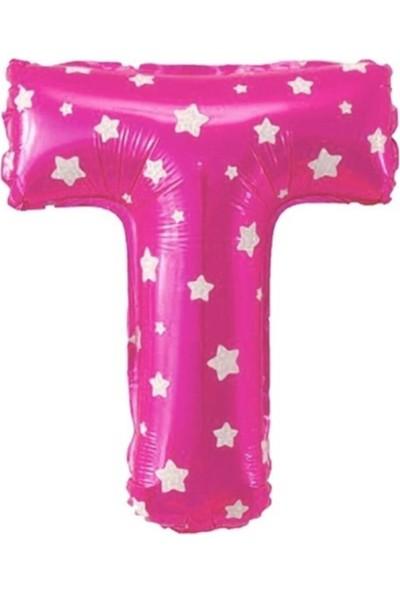 Asya Aksesuar T Harfi Pembe Renk 16 Inc 40 cm Balon Parti Malzemesi