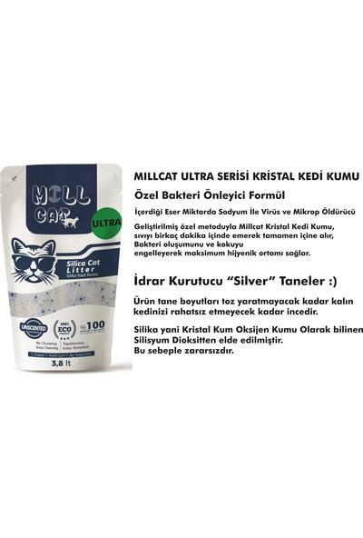 Mill Cat Millcat Tozsuz Silika Kedi Kumu - Idrar Kurutucu Mikrop Önleyici Kristal Kedi Kumu - 3,8 Lt x 3 Pkt